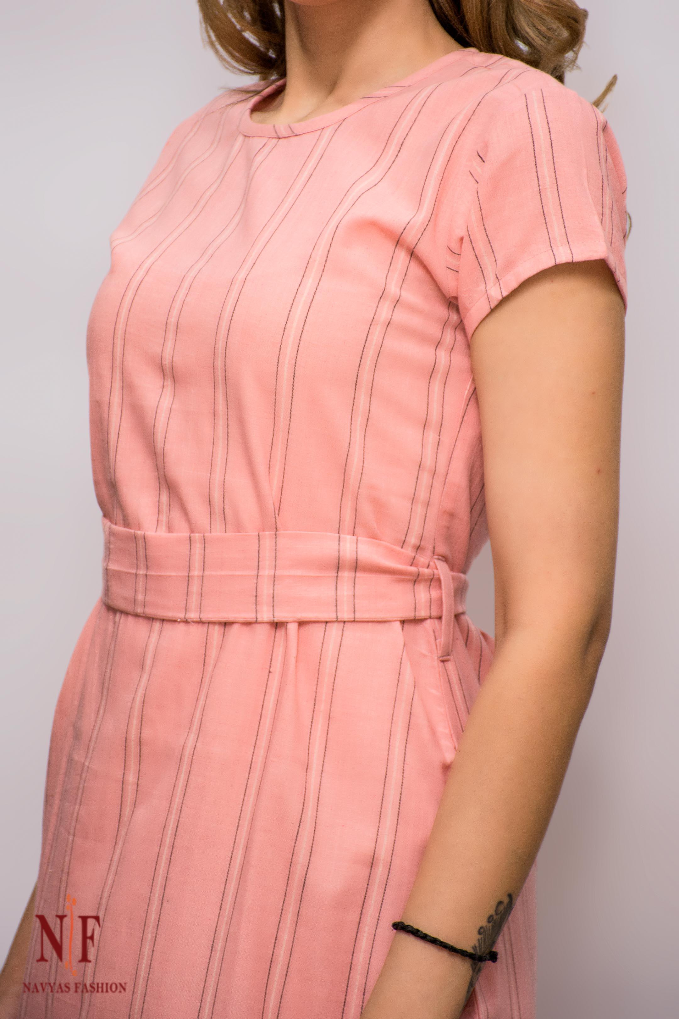 Pink Stripes Khari Cotton Dress