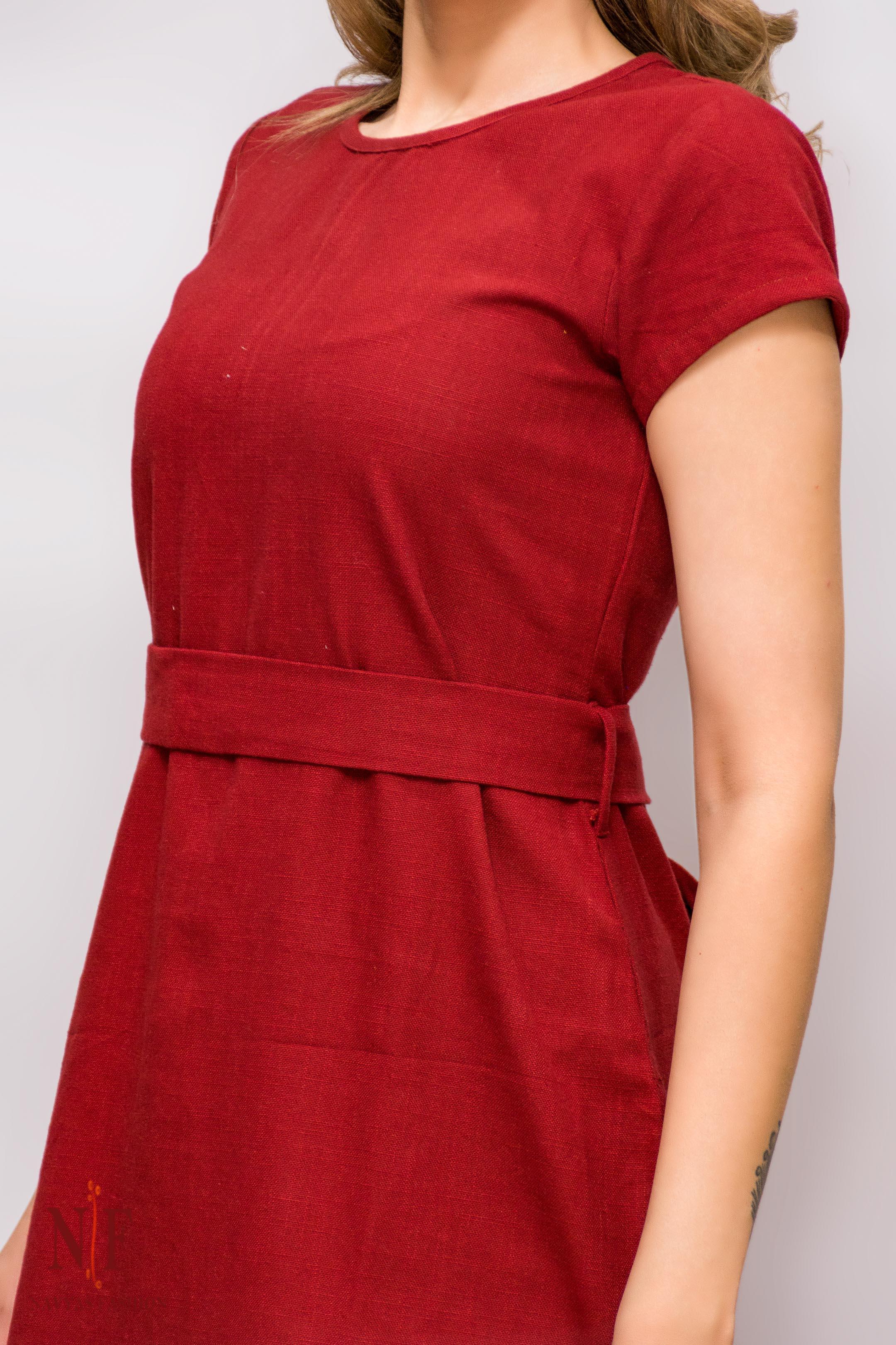Hibiscus Red Handloom Cotton Dress