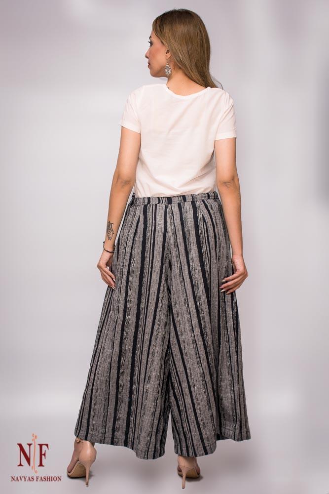 Black And Grey Khari Cotton Women Palazzo Pants