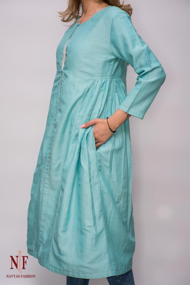 Blue Silk Cotton Long Shrug