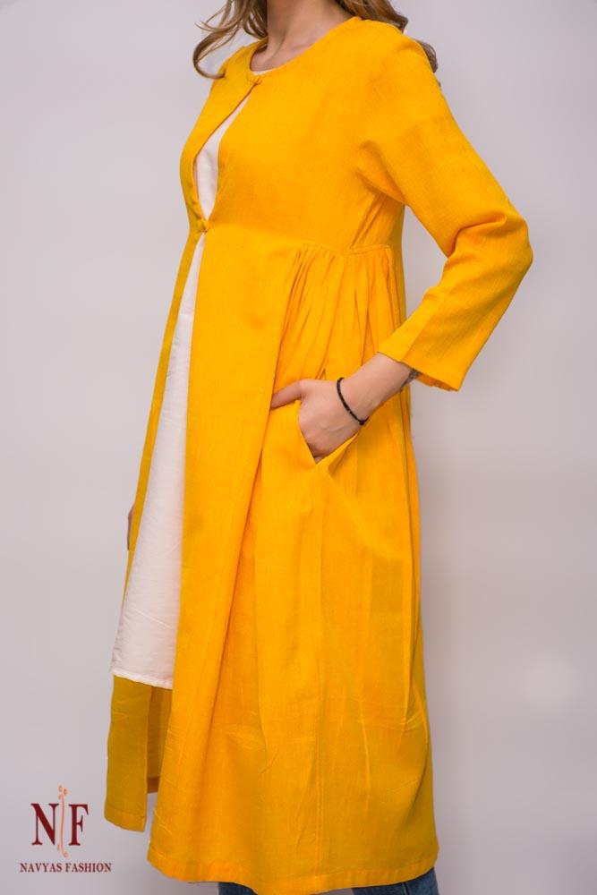 Golden Yellow Silk Cotton Long Shrug