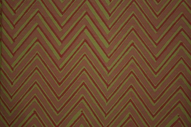 Macaroon Rust And Green Chevron Hand Block Print Fabric