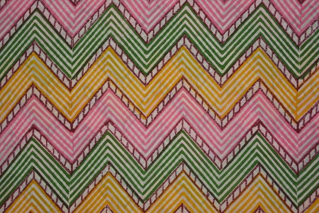 Multicolor Chevron Hand Block Print Fabric