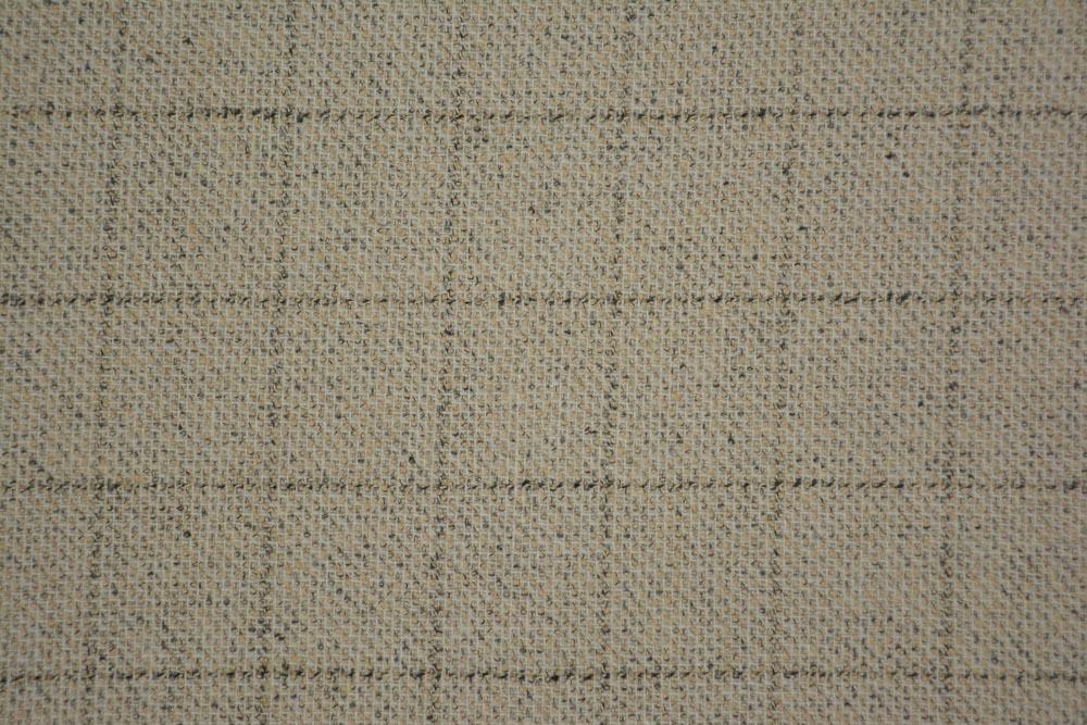 Sandshell Cream Checks Tweed Wool Fabric