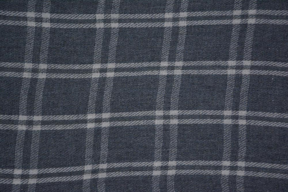 Grey And White Checks Cashmere Wool Stole