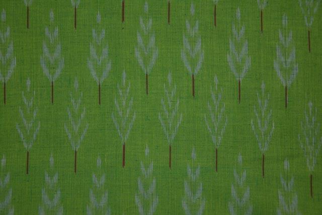 Vibrant Green Fine Ikat Fabric Online