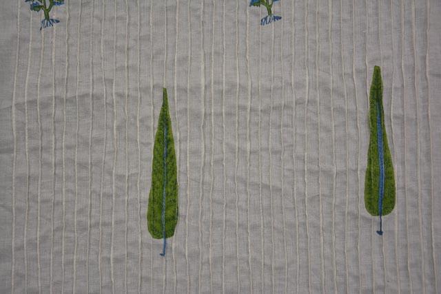 Leaf Block Printed Pintucks Fabric