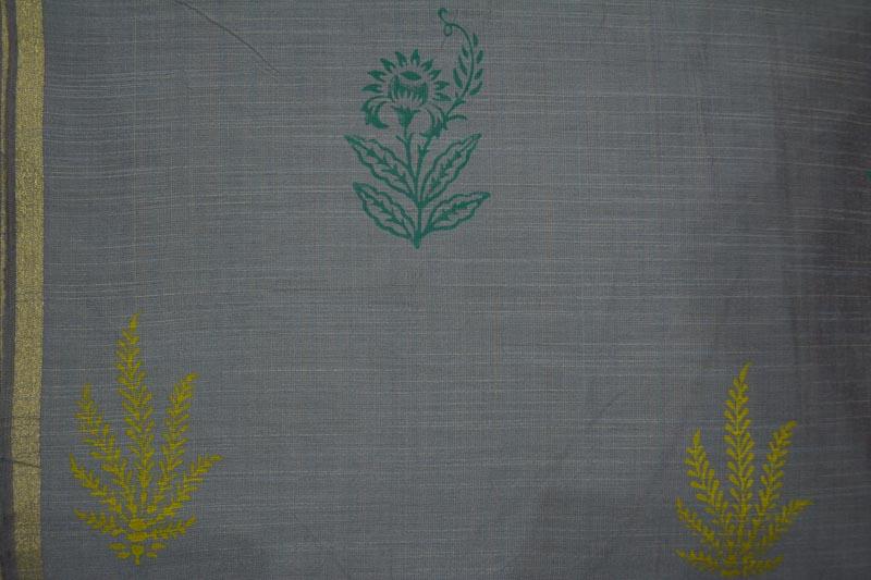 Grey Floral Block Printed Chanderi Fabric