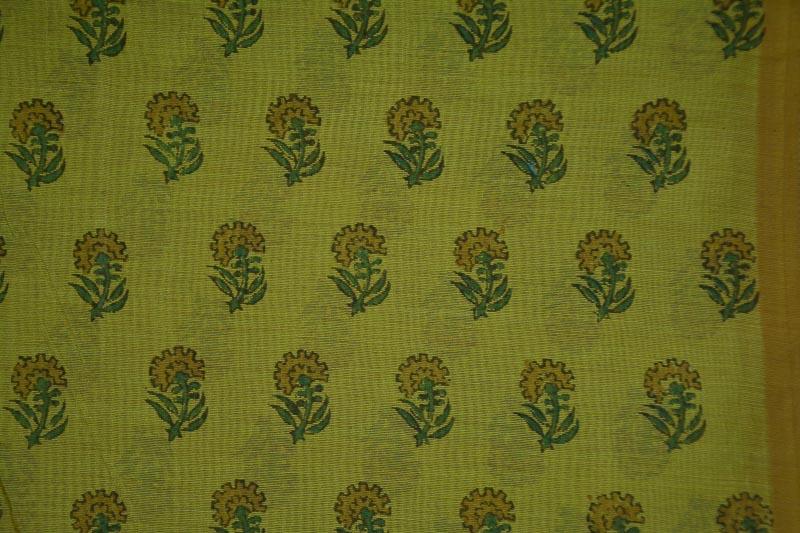 Herbal Green Block Printed Chanderi Fabric