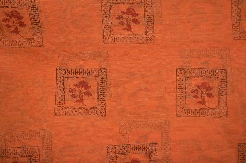 Tawny Orange Floral Block Printed Chanderi Fabric