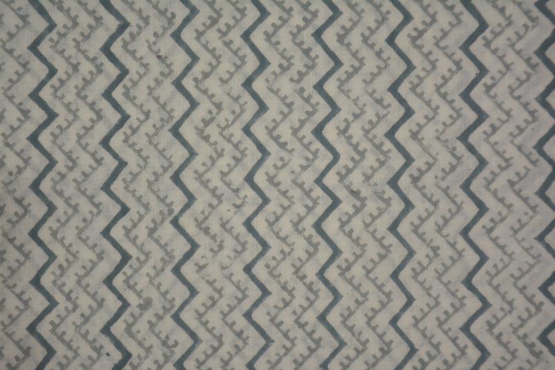 White And Grey Cheron Block Print Cotton Fabric