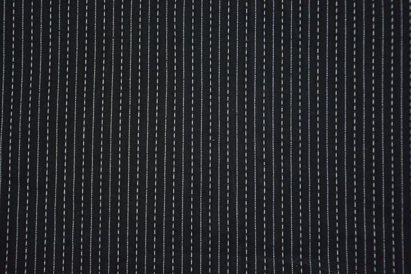 Black And White Cotton Kantha Stitch Fabric
