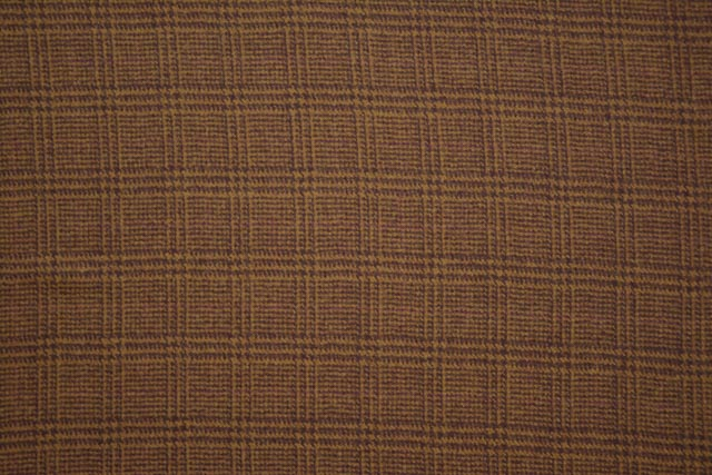 Almond Brown Checks Tweed Wool Fabric