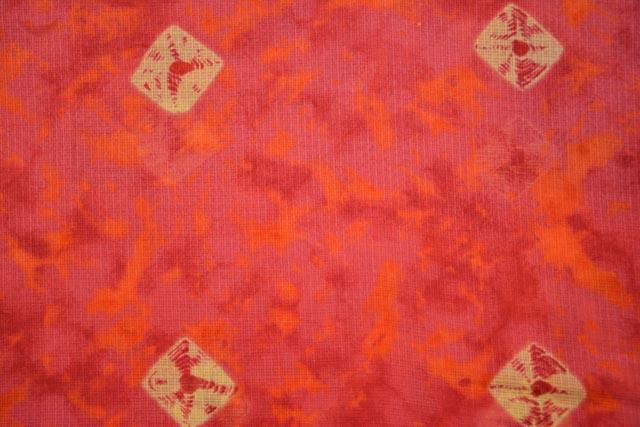 Pink Orange Printed Kota Doria Fabric