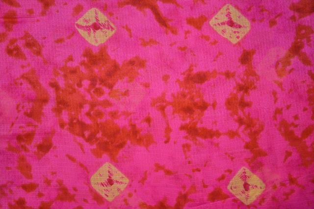 Pink Red Printed Kota Doria Fabric