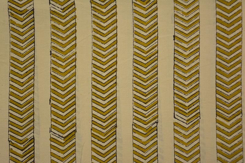 Beige And Mustard Hand Block Printed Cotton Fabric