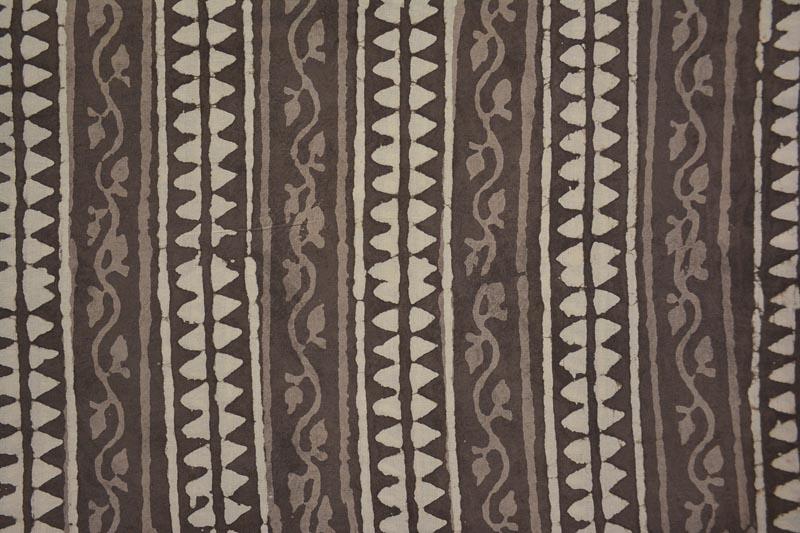 Kashish Grey Chevron Striped Hand Block Print Cotton Fabric
