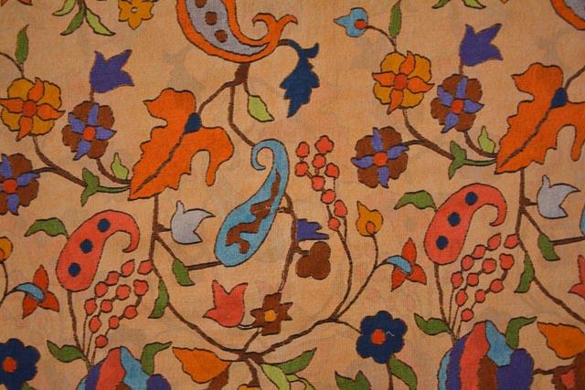 Melba Peach Printed Chanderi Silk Fabric