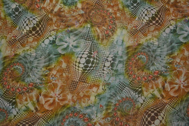 Multicolor Printed Chiffon Fabric By The Yard