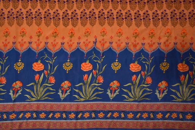 Tawny Orange Floral Printed Tussar Silk Fabric