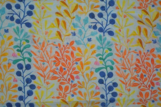 Illusion Blue Leaf Printed Chanderi Silk Fabric