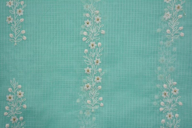 Skyblue Chikankari Embroidery Kota Doria Cotton Fabric