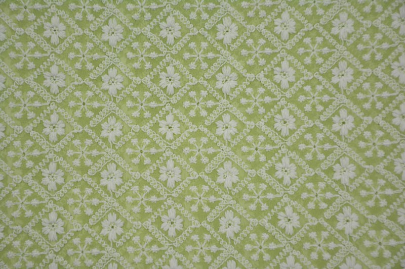 Gourd Green Chikankari Embroidered Georgette Fabric
