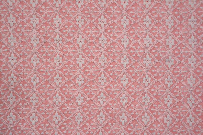 Pretty Pink Chikankari Embroidered Georgette Fabric
