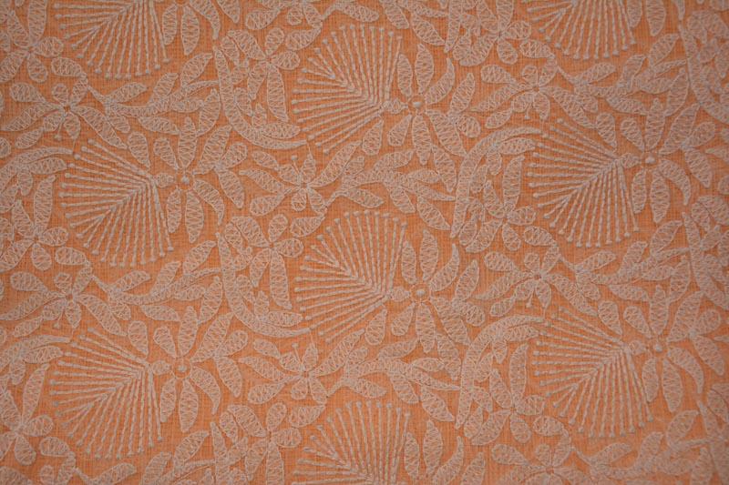 Peach Chikankari Embroidery Kota Doria Cotton Fabric