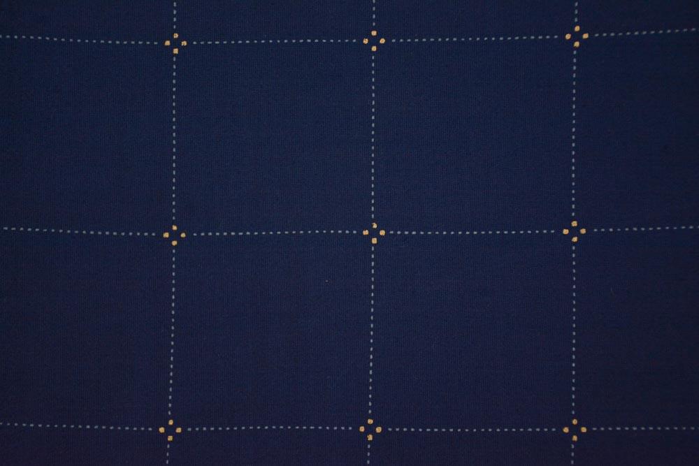 Navy Blue Checks Print Rayon Fabric