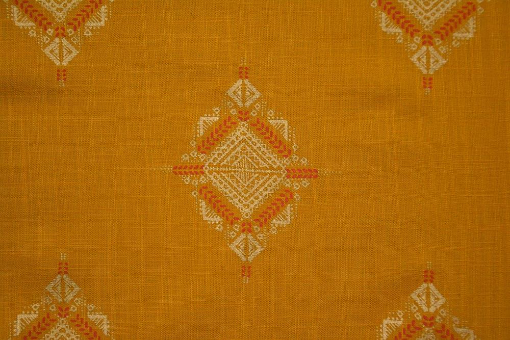 Golden Yellow Print Slub Rayon Fabric