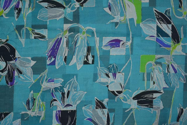 Turquoise Floral Digital Print Cotton Fabric
