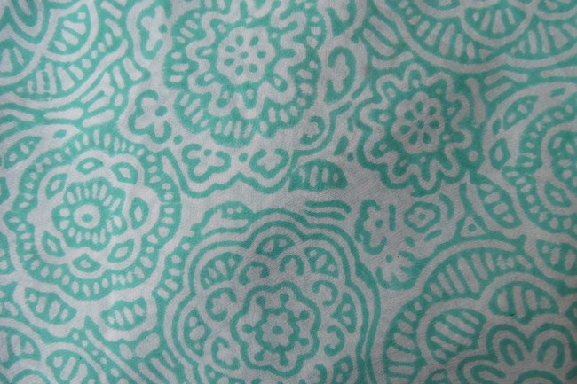 Green Floral Pure Silk Fabric By The Yard