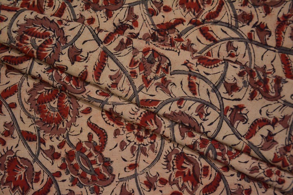 Red Gray Floral Hand Block Printed Kalamkari Fabric