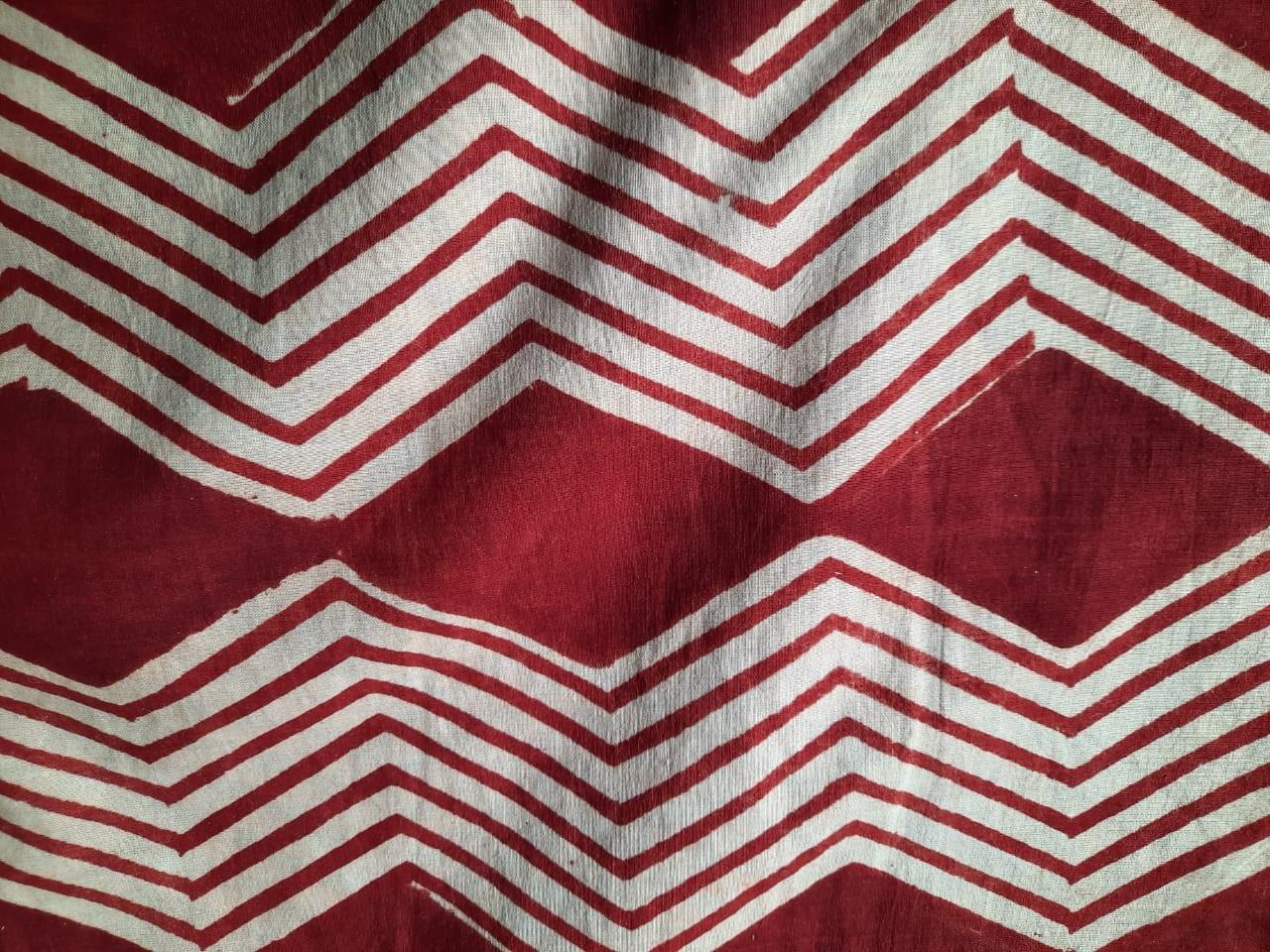 Bagru Red Chevron Hand Block Printed Cotton Fabric