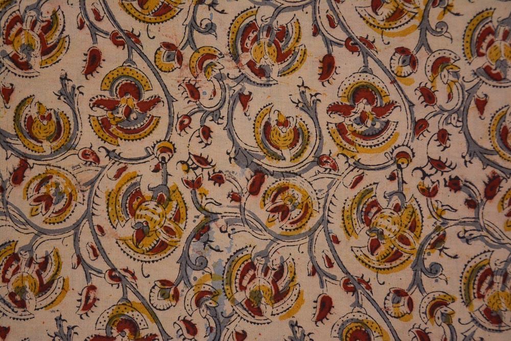 Yellow Gray Floral Hand Block Printed Kalamkari Fabric